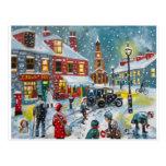Busy street scene winter snow  Gordon Bruce art Postcards
