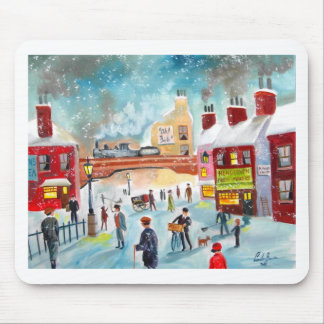 Busy street scene winter train oil painting art mouse pad