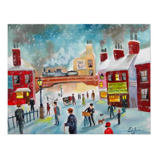 Busy street scene winter train oil painting art