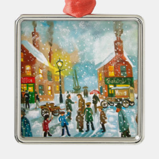 Busy village snow street scene christmas ornament