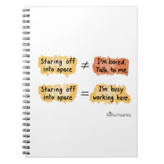 Busy Working White Notebook
