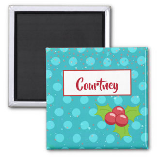 BusyBody Christmas Holiday with Holly Stars & Dots Magnet