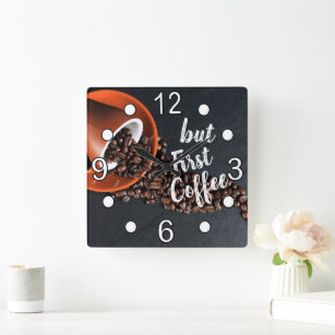 But First Coffee Square Wall Clock