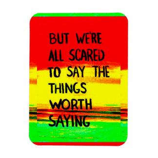 But we're all scared to say the things worth sayin magnets