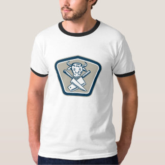 Butcher Knife Cow Head Shield Tee Shirt