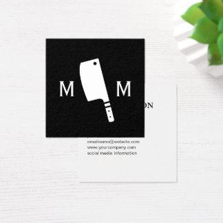 Butcher Knife Monogram Square Business Card