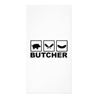 Butcher pig cleaver sausage photo greeting card