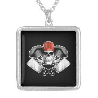 Butcher Skulls Square Pendant Necklace
