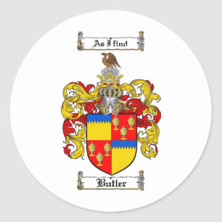 BUTLER FAMILY CREST -  BUTLER COAT OF ARMS ROUND STICKER