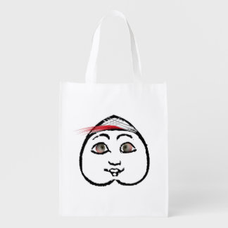 BUTT FACE W/ RED FEATHER REUSABLE GROCERY BAG