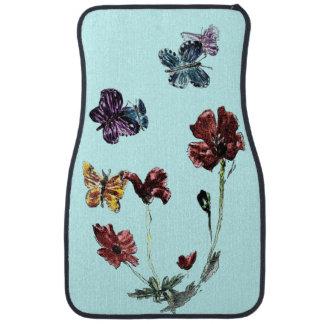 Buttefly Poppy Flowers Illustration Car Mat