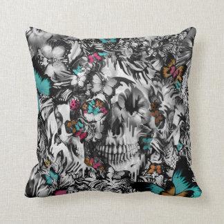 Butter and bones, butterfly skull throw pillow