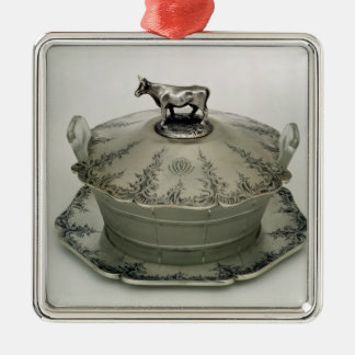 Butter dish with a frosted glass base christmas ornament