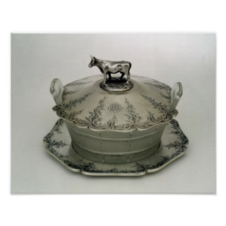 Butter dish with a frosted glass base poster