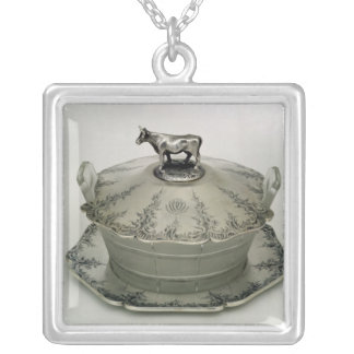 Butter dish with a frosted glass base silver plated necklace