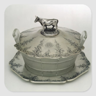 Butter dish with a frosted glass base square sticker