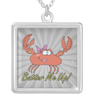 butter me up cute silly girl crab cartoon square pendant necklace