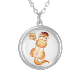butter scotch ferret silver plated necklace