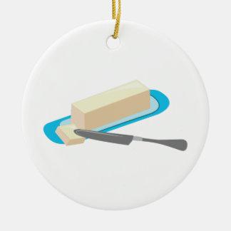 Butter Stick Round Ceramic Ornament
