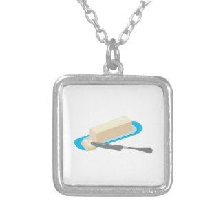 Butter Stick Square Pendant Necklace
