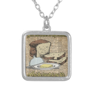 Butter to my bread.. Love Dictionary Art Silver Plated Necklace