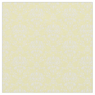 Butter Yellow and White Damask Fabric