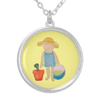 Butter Yellow Toddler Baby Girl at Beach Round Pendant Necklace
