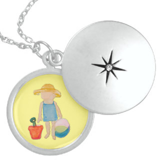 Butter Yellow Toddler Baby Girl at Beach Round Locket Necklace