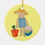 Butter Yellow Toddler Baby Girl at Beach Round Ceramic Decoration