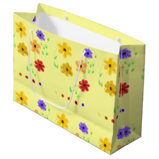 Butter Yellow With Colorful Floral Pattern Large Gift Bag