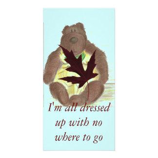 Butterbear Cartoon Maple Leaf Personalized Photo Card