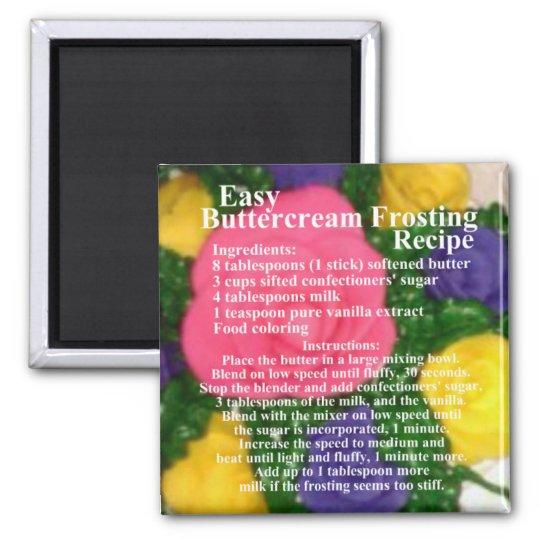 Buttercream Frosting Recipe Square Magnet