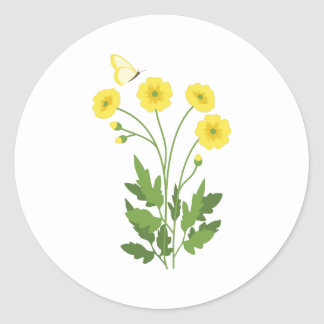 Buttercup Butterfly Classic Round Sticker