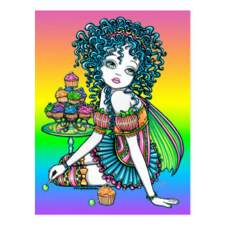 """Buttercup"" Cup Cake Candy Couture Rainbow Fairy Postcard"