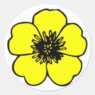 Buttercup Flower Round Sticker
