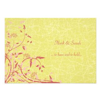Buttercup Vines Birds Wedding Invitation