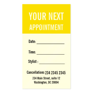 Buttercup Yellow Professional Appointment Reminder Pack Of Standard Business Cards