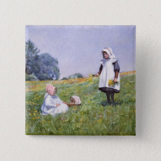 Buttercups and Daisies 15 Cm Square Badge