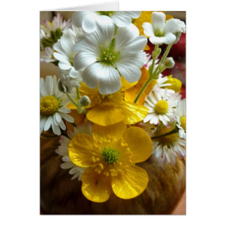 Buttercups and daisies greeting card