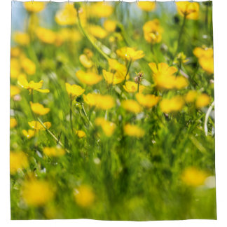 Buttercups in motion. shower curtain