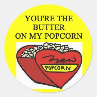 buttered popcorn lover round sticker