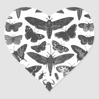 Butterfiles moths and insects B&W pattern picture Heart Sticker