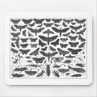 Butterfiles moths and insects B&W pattern picture Mouse Mat