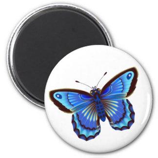 Butterfiy blue 6 cm round magnet