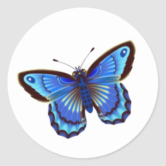 Butterfiy blue classic round sticker