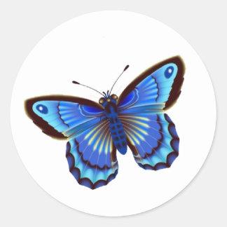 Butterfiy blue round sticker