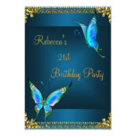 Butterflies 21st Birthday Party Blue Teal 9 Cm X 13 Cm Invitation Card