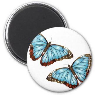 Butterflies 6 Cm Round Magnet