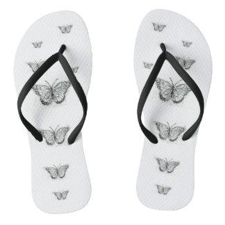 """Butterflies"" Adult, Slim Straps, Size 37/38 Flip Flops"