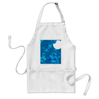 Butterflies against blue night sky, moonscape aprons